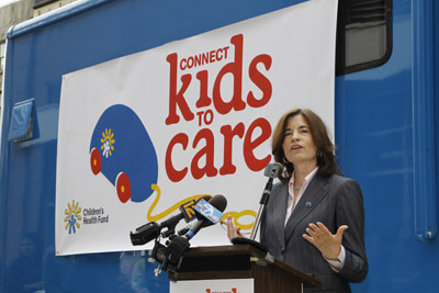NEW YORK - APRIL 19:  Karen Redlener, executive director of Children's Health Fund speaks about the kick off Connect Kids to Care at Children's Health Fund's New York Program on Monday, April 19, 2010. The program will help support CHF's goal of providing half a million health care visits to disadvantaged children nationwide. (Bronx, NY) (Photo by Mark Von Holden/WireImage for Clorox)