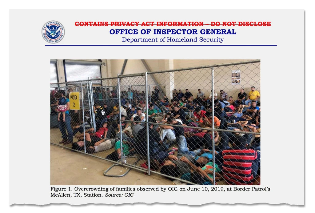 "A page from the Office of Inspector General report on widespread overcrowding and squalid conditions at migrant centers along the southern border. SOURCE: ""Squalid Conditions at Border Detention Centers, Government Report Finds"", The New York Times, July 2, 2019."